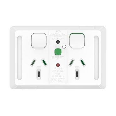 Double Socket, RCD 30 mA, Horizontal, 10A, Vivid White, Pro Series